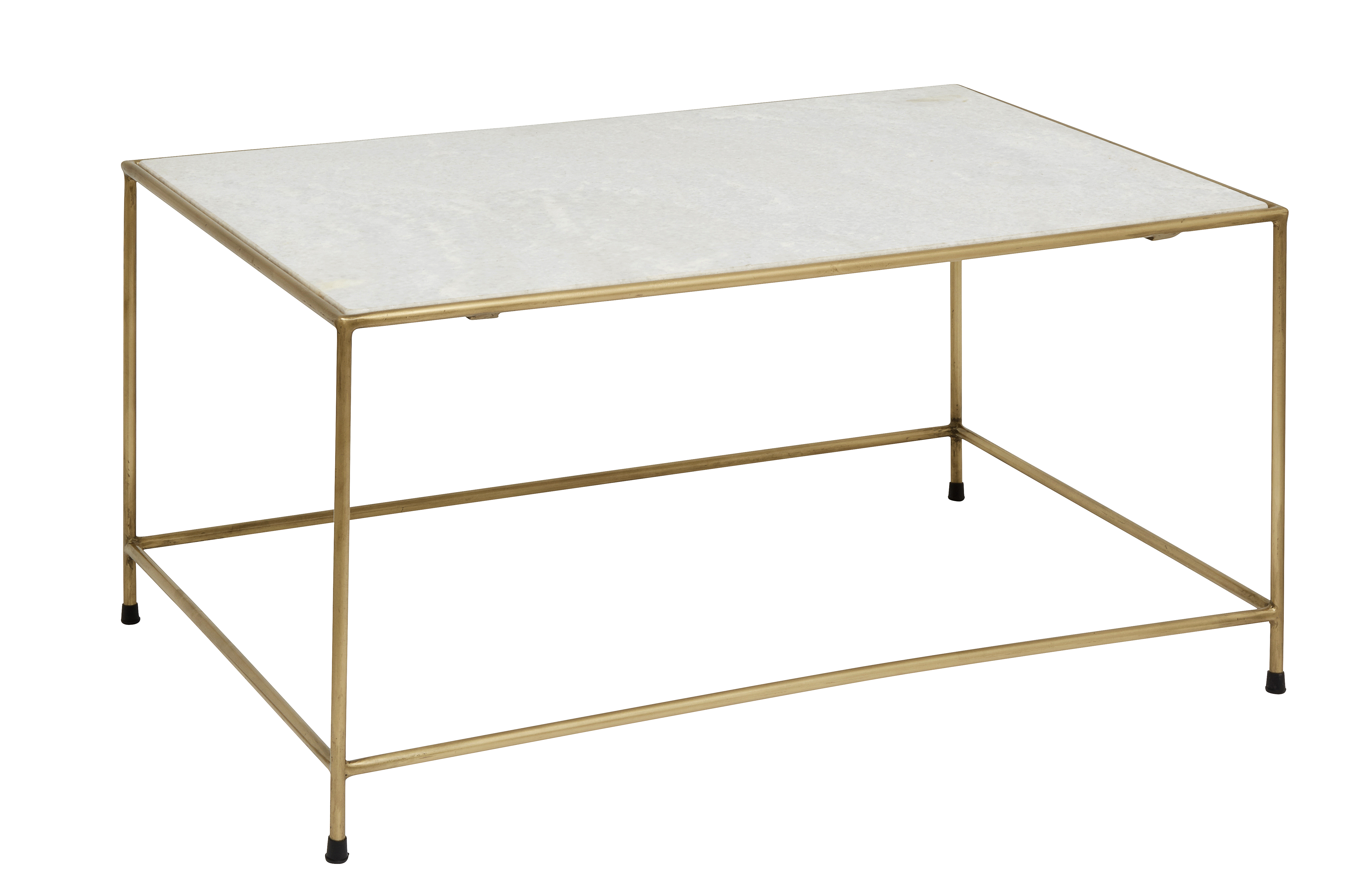 TIMELESS coffee table white marble brass