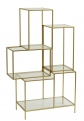 Rack with glass shelves, metal, gold