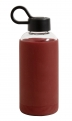 Glass bottle w. silicone sleeve, darkred