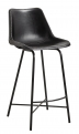Bar chair, leather, w/iron legs, black