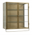 Wall cabinet,2 doors, golden metal/glass