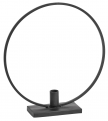 Metal candle holder w/circle, black