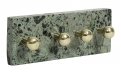 Necklace rack w/knobs, dark green marble