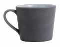 Stoneware mug w. handle, black/white