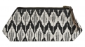 Pouch, Ikat, black/off white
