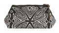 Pouch, black w/off white pattern