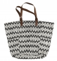 Tote bag, Ikat, black/off white