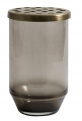 Glass vase w/metal lid, dusty black, S