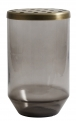 Glass vase w/metal lid, dusty black, L