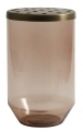 Glass vase w/metal lid, dusty brown, L