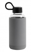 Glass bottle w. silicone sleeve, grey