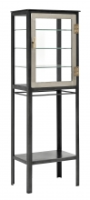 Glass cabinet w/free space, iron, grey
