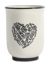 "HEART mug, ""love, chocolate, forever"""